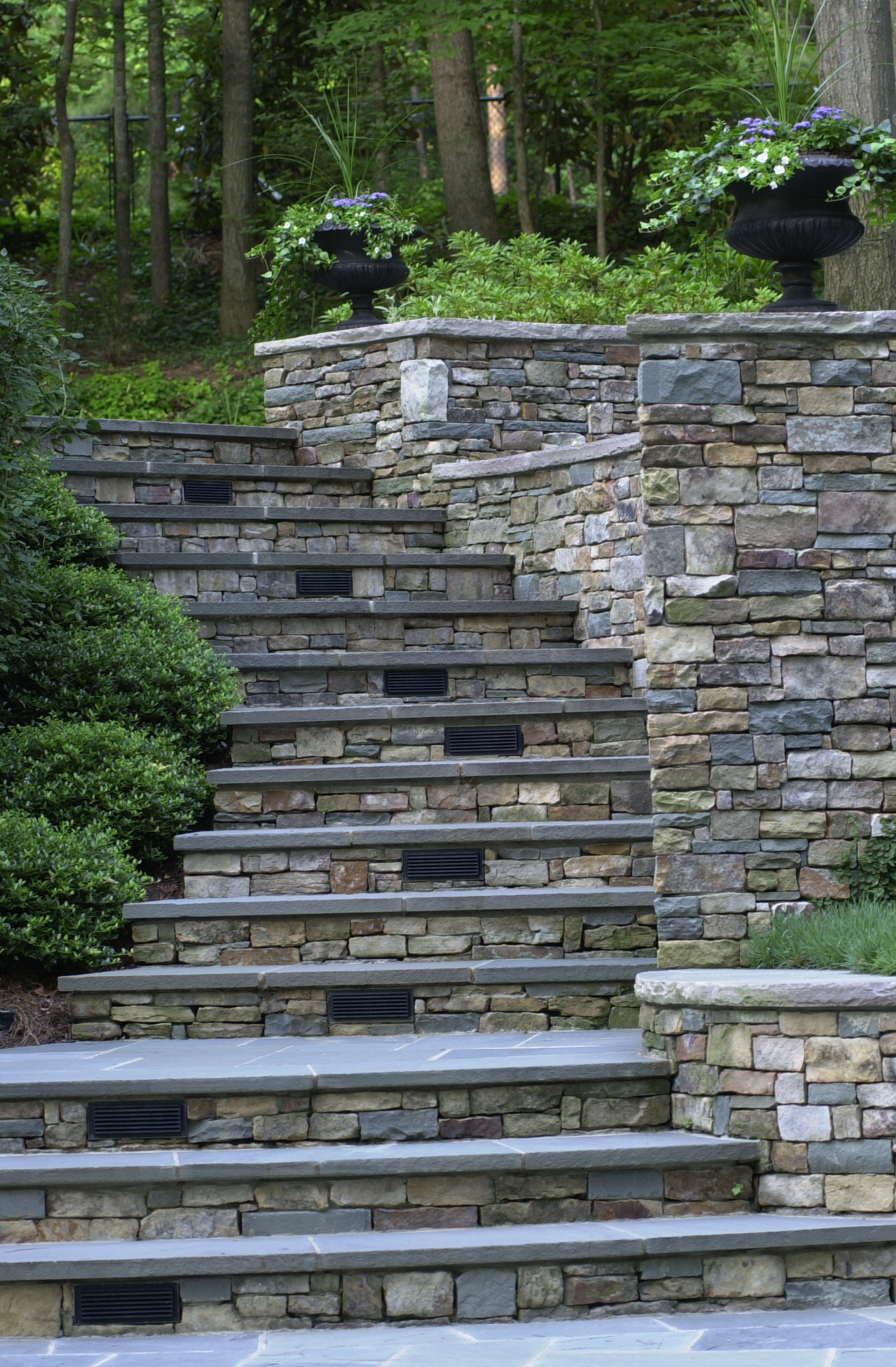 Stacked stone steps and treads, bluestone risers 3